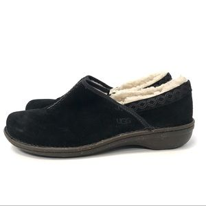 Ugg slippers shoes scuffs black suede shearling 12